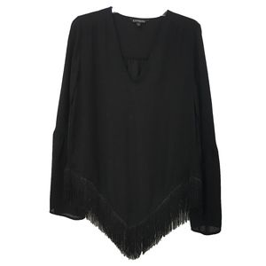 Express Fringe Hem Top with a bell sleeve